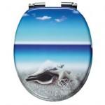 Seestern chillt am Strand blauer WC Sitz
