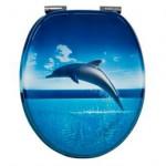 springender Delphin blauer WC SItz