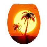 wc sitz mit Palmen und Sonnenuntergang